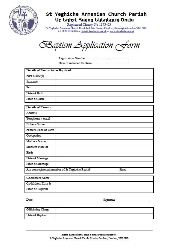 Baptism-Application-Form T Application Registration Request Form Pdf on change order, sample travel, employee vacation,